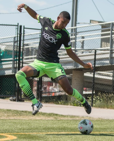 Blake Jones controls the ball during the Foothills F.C. vs. Seattle Sounders U23 at Hellard Field in Calgary on Sunday, June 28, 2015. The final score was 4-0 for Seattle. (Photo by Kyle Meller)