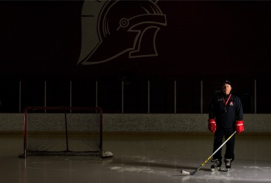 Terry Larson gets ready for an offseason practice at SAIT Arena in Calgary on Thursday, March 10, 2016. Larson is now the longest tenured coach in ACAC women's hockey history. (Photo by Kyle Meller)