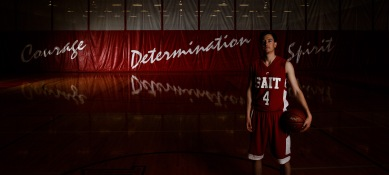 SAIT Trojans guard Ryan Nummi poses for a portrait during a basketball stock photography session at Campus Centre gym in Calgary on Thursday, April 14, 2016. (Photo by Kyle Meller)